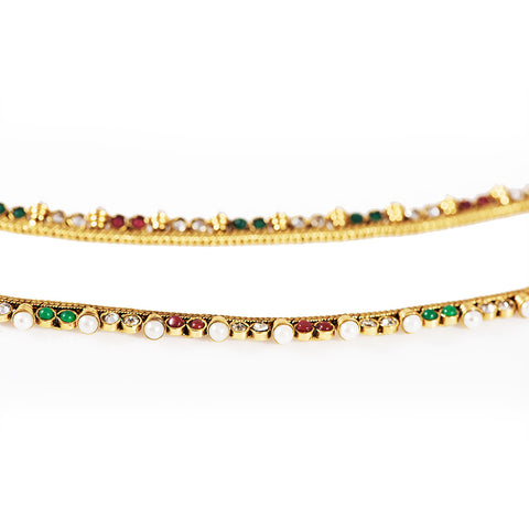 Pearls and Multi Color Anklets With  Gold covering