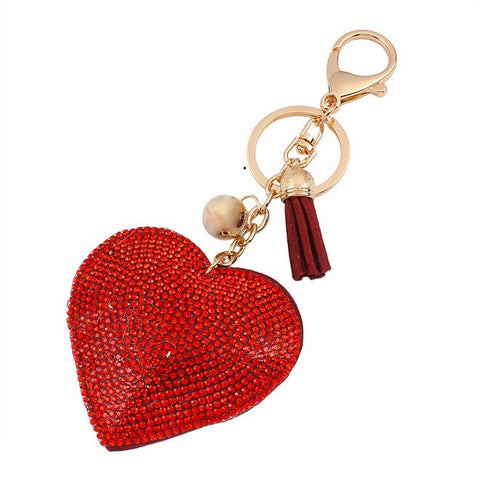 Romantic Women Love Heart Pendant Leather Rhinestone Key Chain Gift Free + Shipping