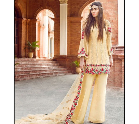 CREAM GEORGETTE STRAIGHT CUT PLAZO