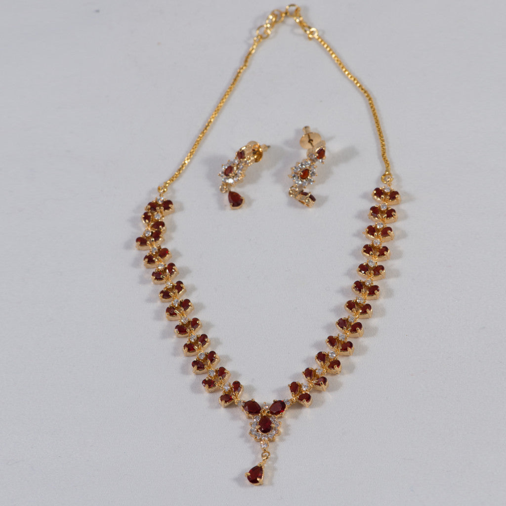 Ruby and Cz Stone Elegant Designer Necklace and Earrings Set