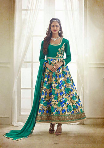 SeaGreen Chanderi Silk top with Santoon bottom Churidar kameez