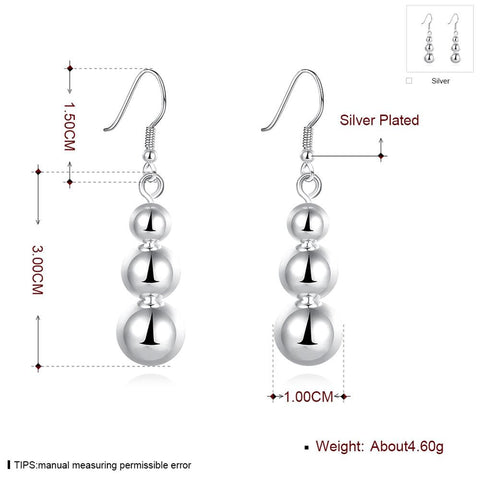 Silver Plated Big Beads Drop Earrings for Women , Girls Free + Shipping
