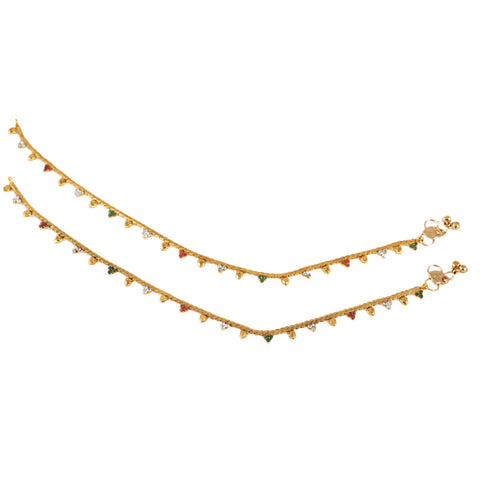 Thin Line Multi Color Anklets With  Gold covering