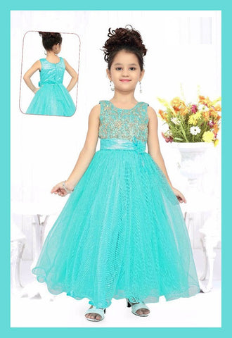 Indian Designer Aqua Brocade Readymade Gown