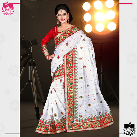 Indian Designer Bhagalpuri Silk Saree White & Red