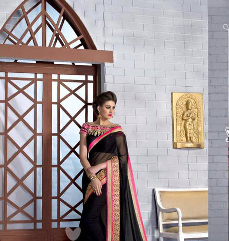 Indian Designer Black Saree With Embroidered Blouse