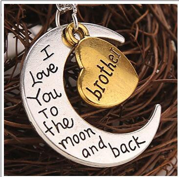 Heart of Love I Love You to the Moon and Back Family Members Necklace- Free + Shipping