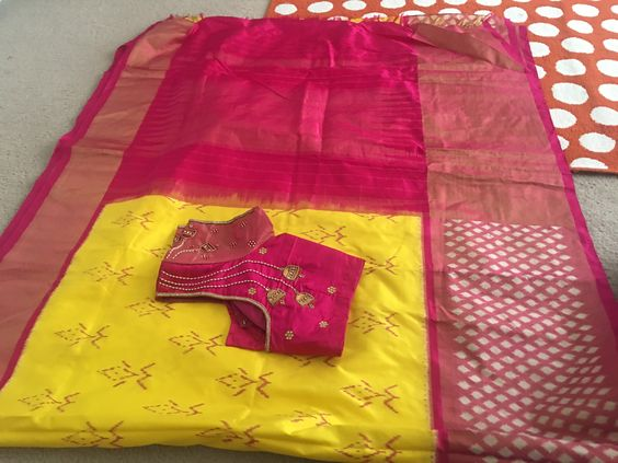 Ikkatha  Designer  Silk Yellow and Pink Saree