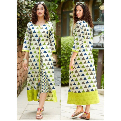 Designer Ready Made Green Printed Kurti