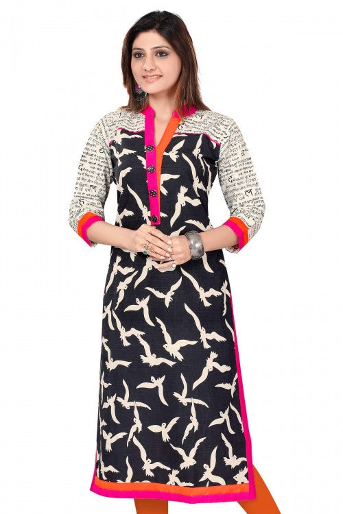 Black & Pink Cotton Long Embroidery Designer Kurti with short sleeves