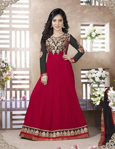 Indian Designer Red Faux Georgette  Churidar Kameez