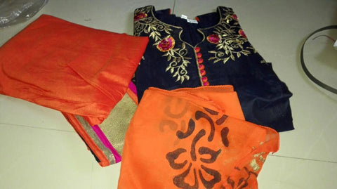 ShortSleeves Salwar Suit Navy Blue with Orange