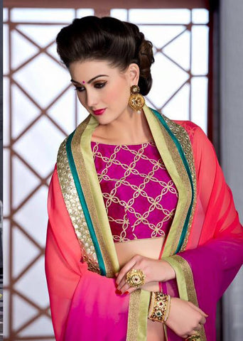 INDIAN DESIGNER  PINK SAREE WITH EMBROIDERED BLOUSE