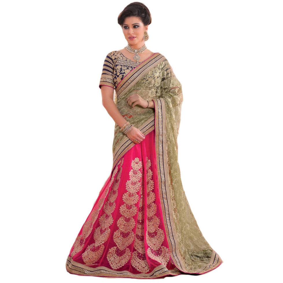 Indian Designer Lehanga Saree Blue and Pink