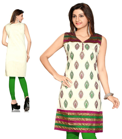 Indian Kurti_Cream & Multi_Embroidery_1