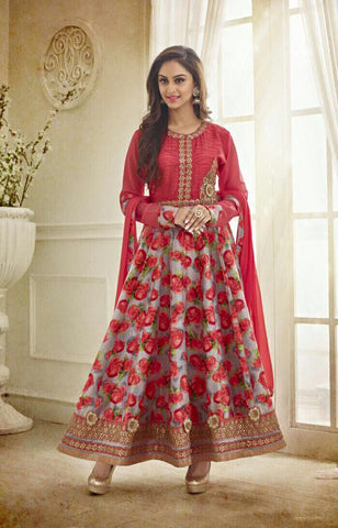 Onion Red Chanderi Silk top with Santoon bottom Churidar kameez