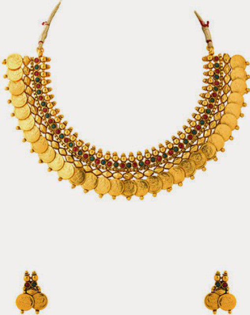 Indian Designer  Kasu mala Short necklace set