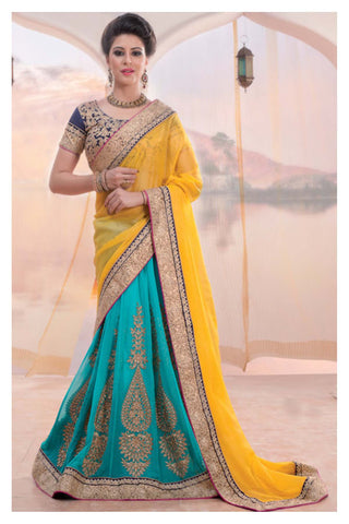 Indian Designer Blouse with Yellow Saree
