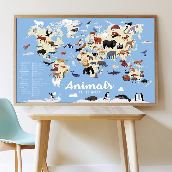 Animals of the World Discovery Sticker Poster - Little Nomad