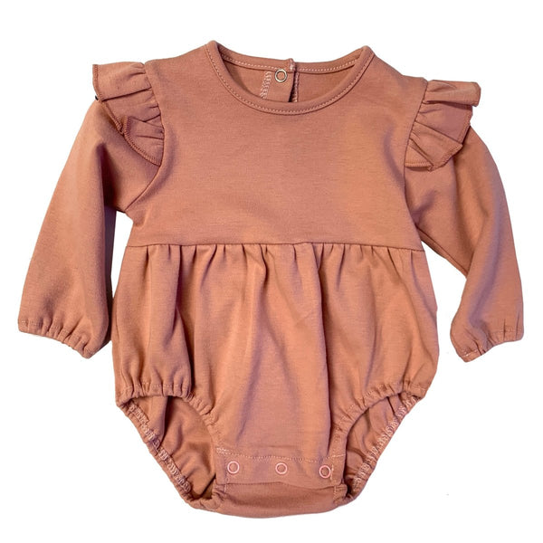 Blush Long Sleeve Flutter Onesie - Little Nomad