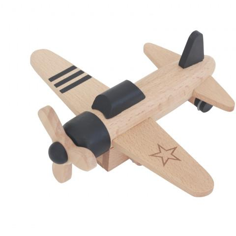 kiko+ & gg* - Hikoki Kids Pull-Back Propeller Plane - Black - Little Nomad