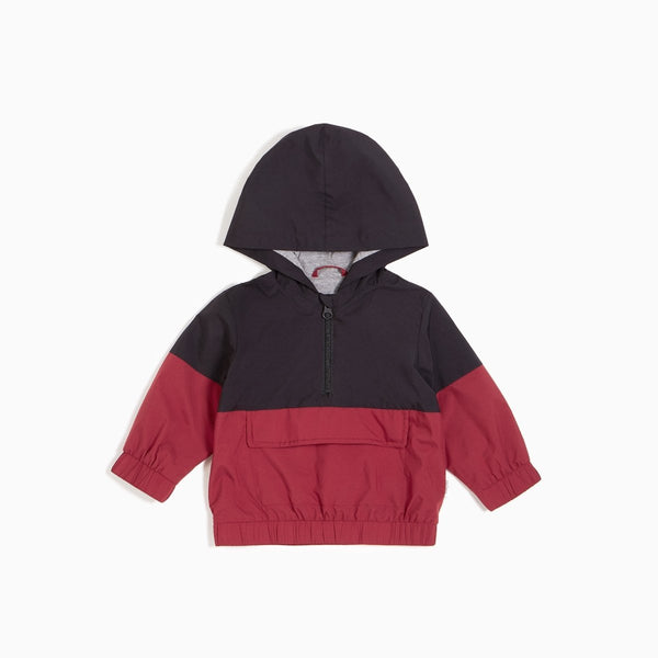 Windbreaker Jacket Black & Burgundy - Little Nomad