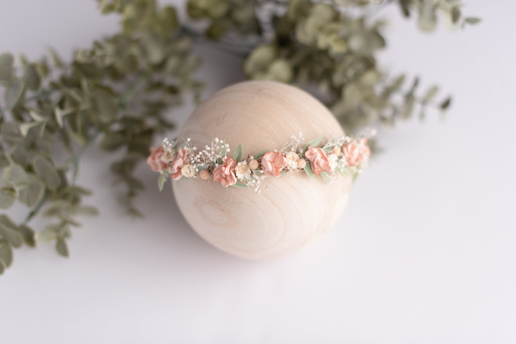 Peach Blush Newborn Photography Floral Crown Baby Headband