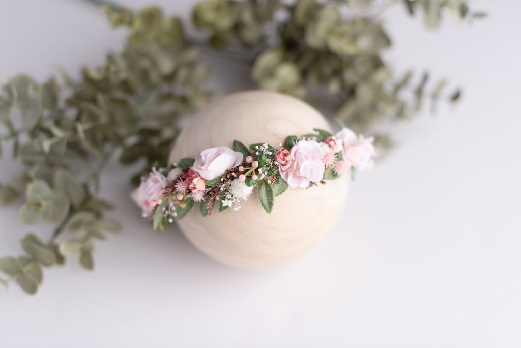 Pale Rose  Newborn Photography Floral Crown Baby Headband