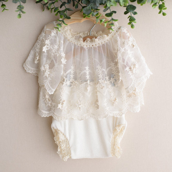 Lace Star Boho Baby Romper- Photography Props