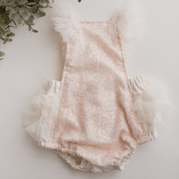 Stormi Blush Beaded Baby Romper | Photography Prop