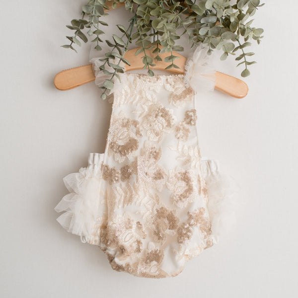 Nude and Ivory Sequin Baby Romper | Baby Bliss Props