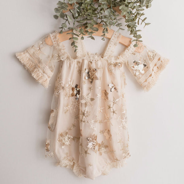 Stella Golden Star Baby Romper | Photography Prop