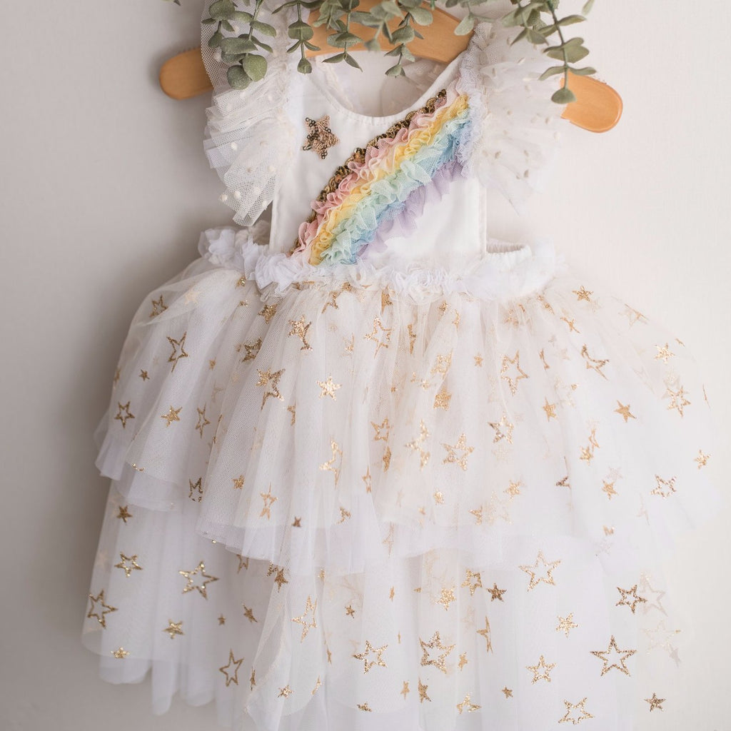 Somewhere over the rainbow is a magical dress full of whimsy and wonder!