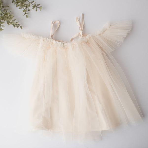 Looking for the perfect holiday dress?  Our Elle Cream Tulle Baby Dress is it.