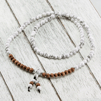 Howlite + Rosewood Mala - Paybackgift