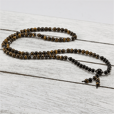 Tiger's Eye + Onyx Mala - LoveSavanna
