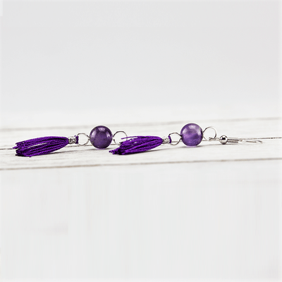 Amethyst Tassel Earrings - Paybackgift