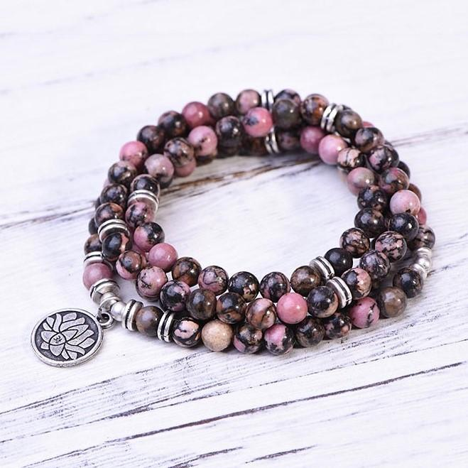Black Line Rhodochrosite Self-Love Mala