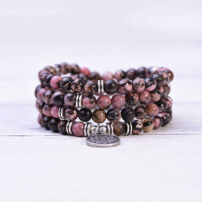 Black Line Rhodochrosite Self-Love Mala - Paybackgift