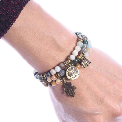 Indian Agate Amazonite Joyful Bracelet Set - Paybackgift