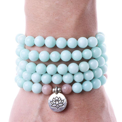 Pink Moonstone & Blue Amazonite Mala
