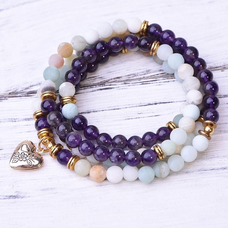 Amazonite Amethyst Locket 108 Mala