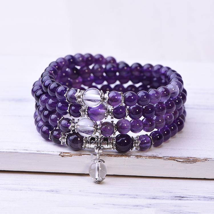 Amethyst 108 Mala Bracelet Necklace