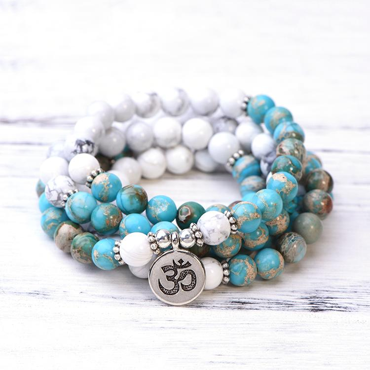 Howlite & Sea Sediment Jasper Mala Bracelet Necklace