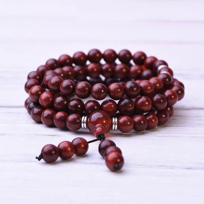 Red Sandalwood Beads Mala Bracelet Necklace - Paybackgift