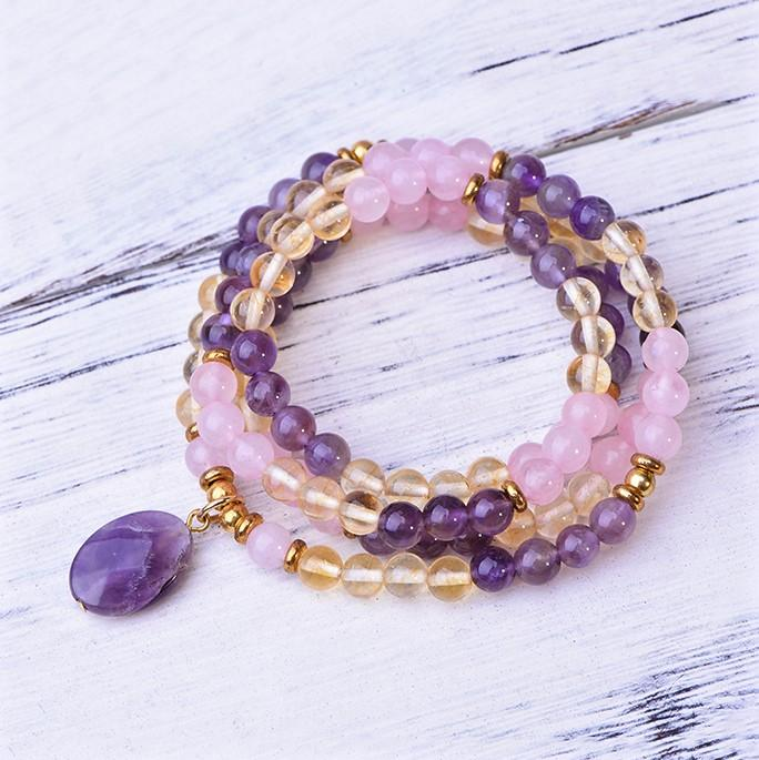 Rose Quartz Amethyst Citrine Joy Mala