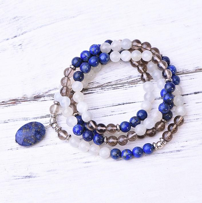 Lapis Lazuli Selenite Smoky Quartz Wellness Mala