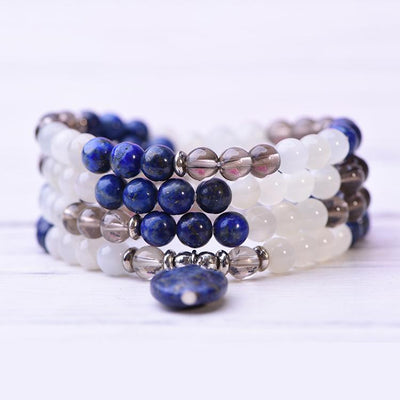 Lapis Lazuli Selenite Smoky Quartz Wellness Mala - Paybackgift