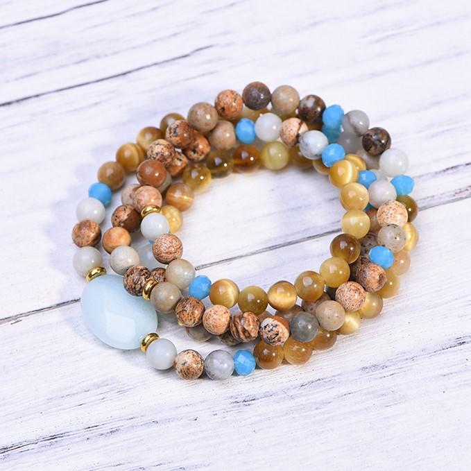 Amazonite Tiger's Eye Picture Jasper Beach Mala