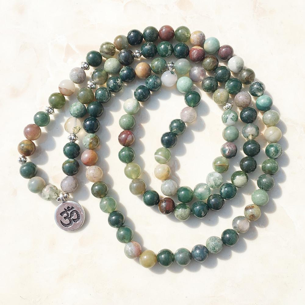 Indian Agate Stone Mala Bracelet/Necklace
